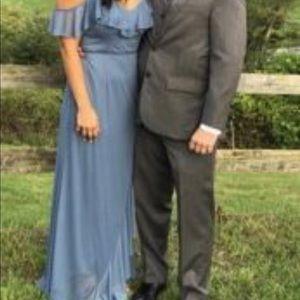David's Bridal steel blue bridesmaid dress size 8
